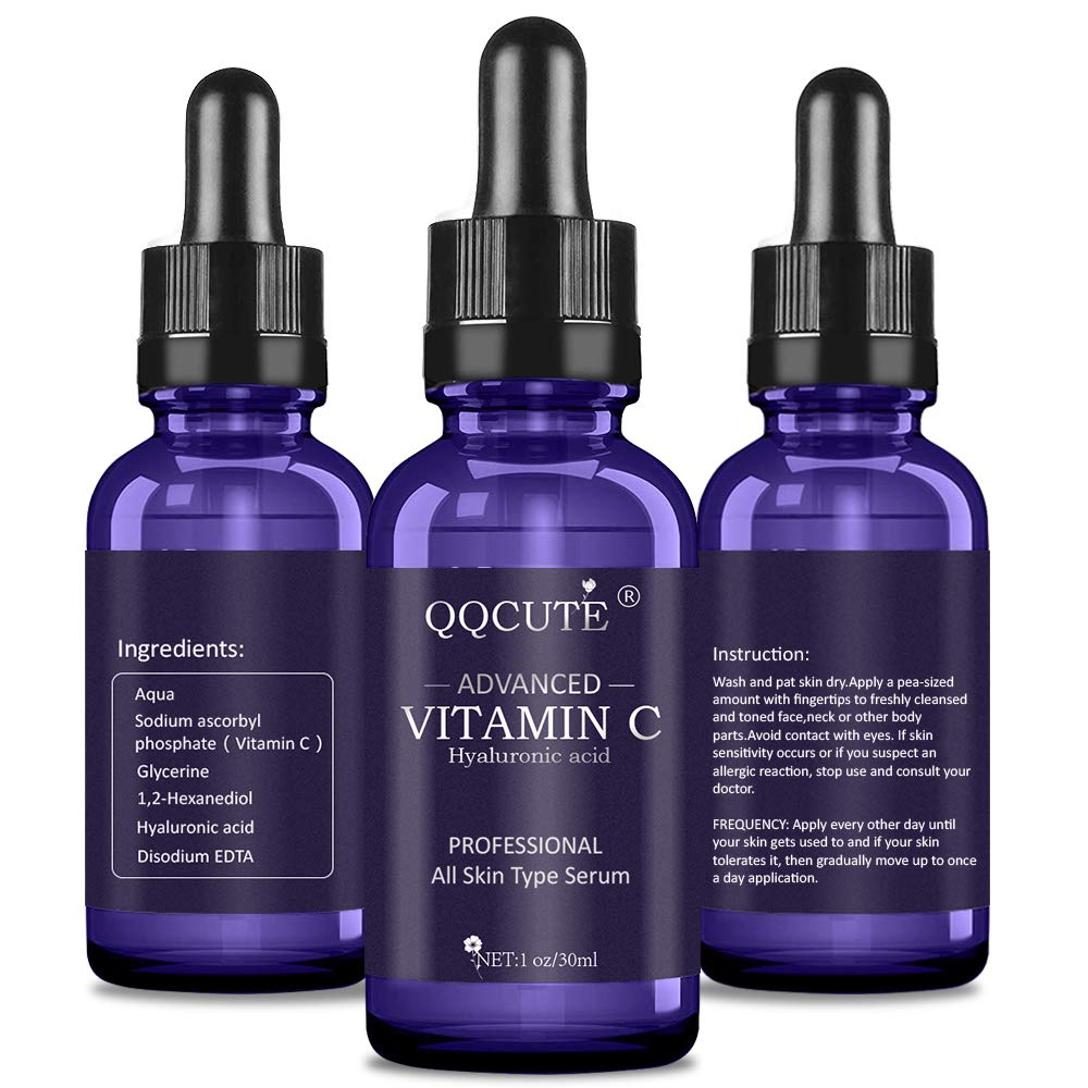 QQcute 30% Vitamin C Serum with Hyaluronic Acid, Organic Anti-aging Moisturizing Skin Care for Face and Neck with Natural Ingredients Eye & Facial Treatment Serum(1 fl. oz) by QQcute (Image #3)