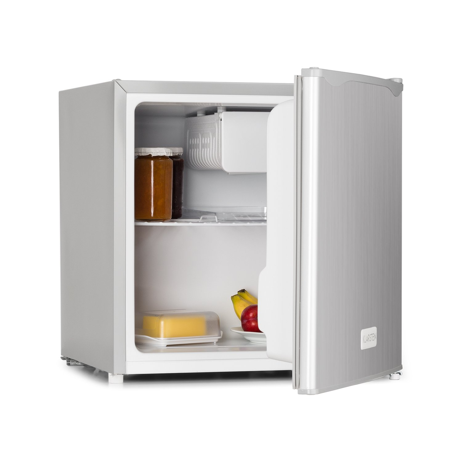 Klarstein 40L1-SG Mini Fridge • Mini Bar • 40 Litre Capacity • Mini Box Freezer • 2 Storage Compartments in Door • Low Noise Level • Removable Shelf Rack • Reversible Door • Stainless Steel • Energy Class A+ • Controlled Cooling Temperature • Easy to Clean
