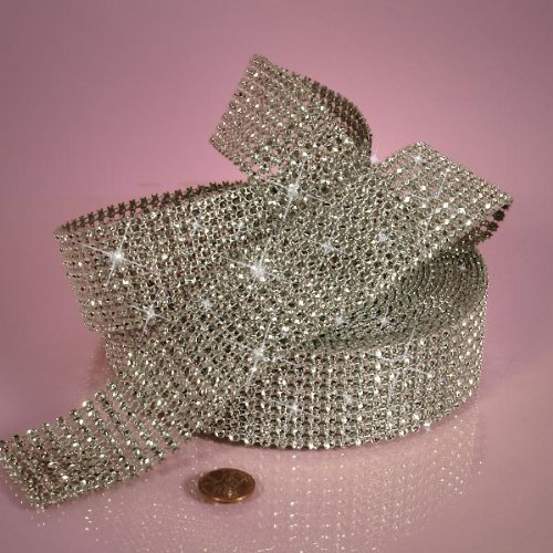 Fabric Jewel (DIAMOND MESH JEWEL RIBBON - 1 1/2 inches by 9 yards (Silver Rhinestone)