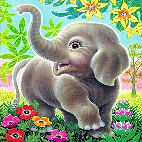 Kid Art Elephant - Tonzom Diamond Painting Kit DIY 5D Rhinestone 8 x 10 inches Cardboard Partial Drill Paint by Numbers for Kids and Adults Beginner with Stitch Pen - Happy Elephant Kid