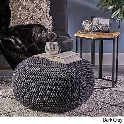 Joyce Knitted Cotton Square Pouf, Dark Grey