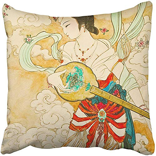 Staroutah Throw Pillow Covers Cases Decorative 20x20 inch Colorful Ancient Tradition Chinese Painting on Temple Wall Red Woman Asian Famous Two Sides Print Pillowcase Case Cushion -