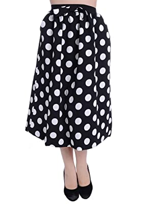 Anna-Kaci S/M Fit White & Black All Over Polka Dot Retro Style Midi Length Skirt