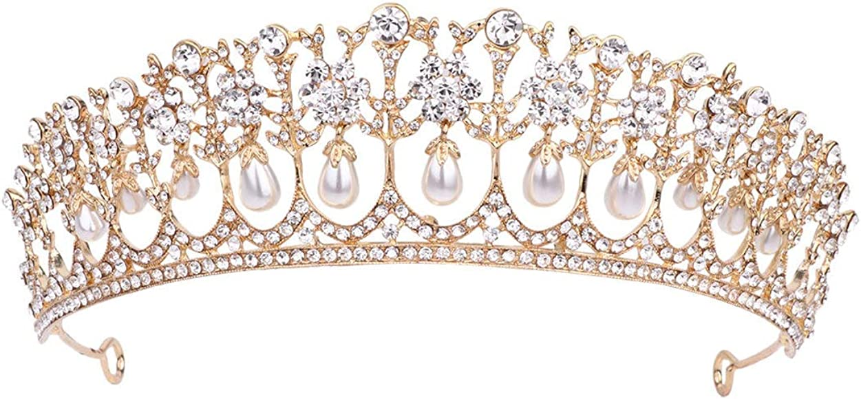 MOONIGHT Wedding Crown for Bride Rhinestone Princess Tiara for Women Prom Queen Crown Pageant-Bridal Wedding Crown Handmade Hair Accessories Rose Gold Crown Golden Crown Earring Necklace 3pcs