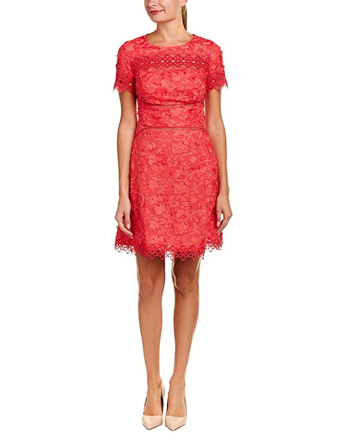 964a984e3bd Elie Tahari Womens Adina Floral Embroidered Cocktail Dress Red 8 at Amazon  Women s Clothing store