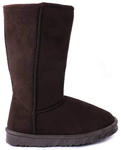 d408e765385aca AMY Kids Girls House Brown Faux Fur Lined Shearling Mid Calf Winter Boots-1