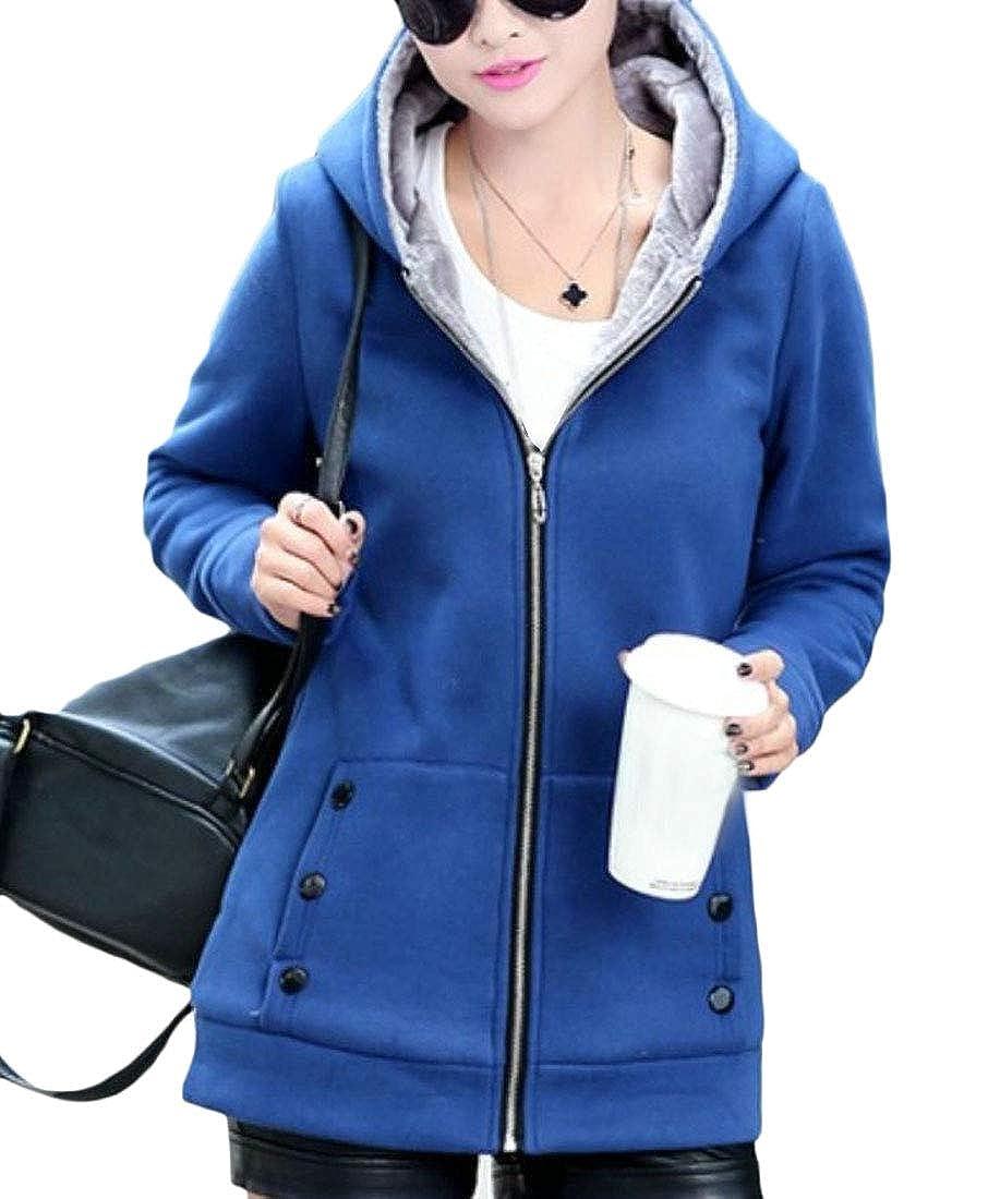 Cromoncent Womens Fall Winter Solid Fleece Zipper Outdoors Sweatshirts