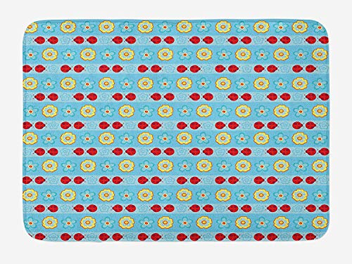 Floral Bath Mat, Ladybugs and Flowers Striped Repetitive Pattern Nature Beetle Spring Theme, Plush Bathroom Decor Mat with Non Slip Backing, 23.6 W X 15.7 W Inches, Sky Blue Red Yellow
