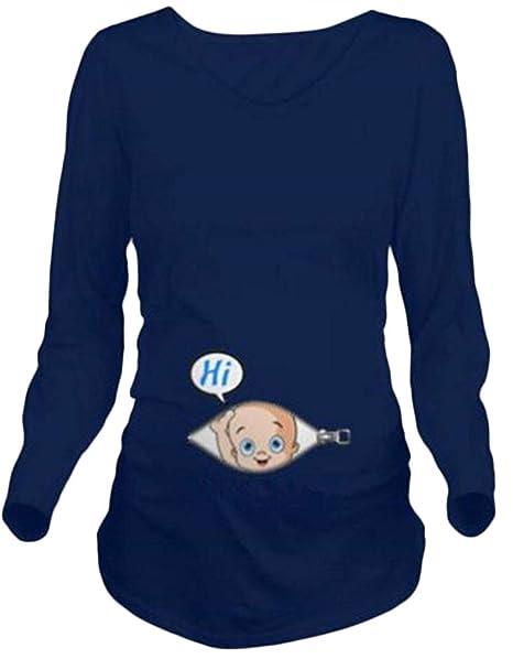 Camiseta de Manga Larga para Mujer Embarazada - Moda Camiseta de Manga Larga para Niña Recién