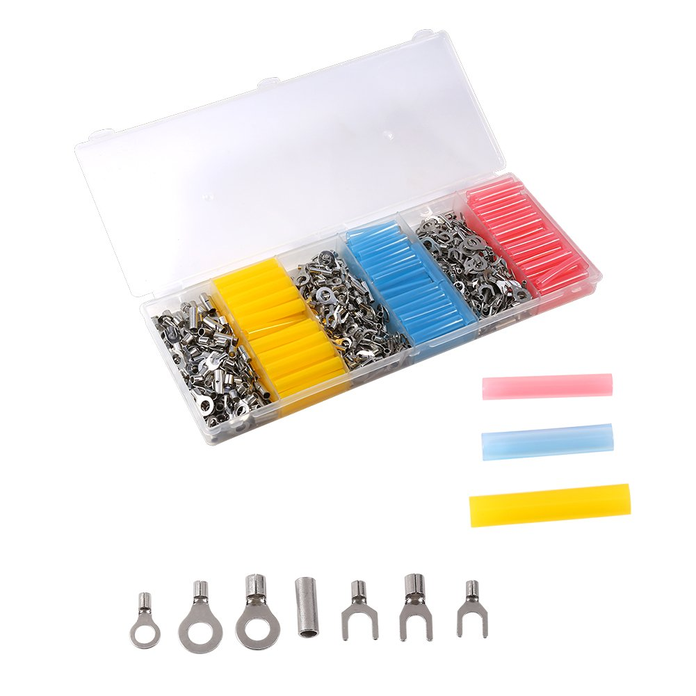 Walfront Heat Shrink Wire Connectors- 530Pcs Connectors & 135Pcs Heat Shrink Tubes - Electrical Terminals Kit - Marine Automotive Crimp Connector Assortment - Ring Fork Butt Splices-with Box Wal front