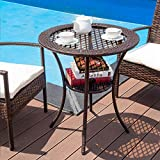 Giantex Round Rattan Wicker Coffee Table Glass