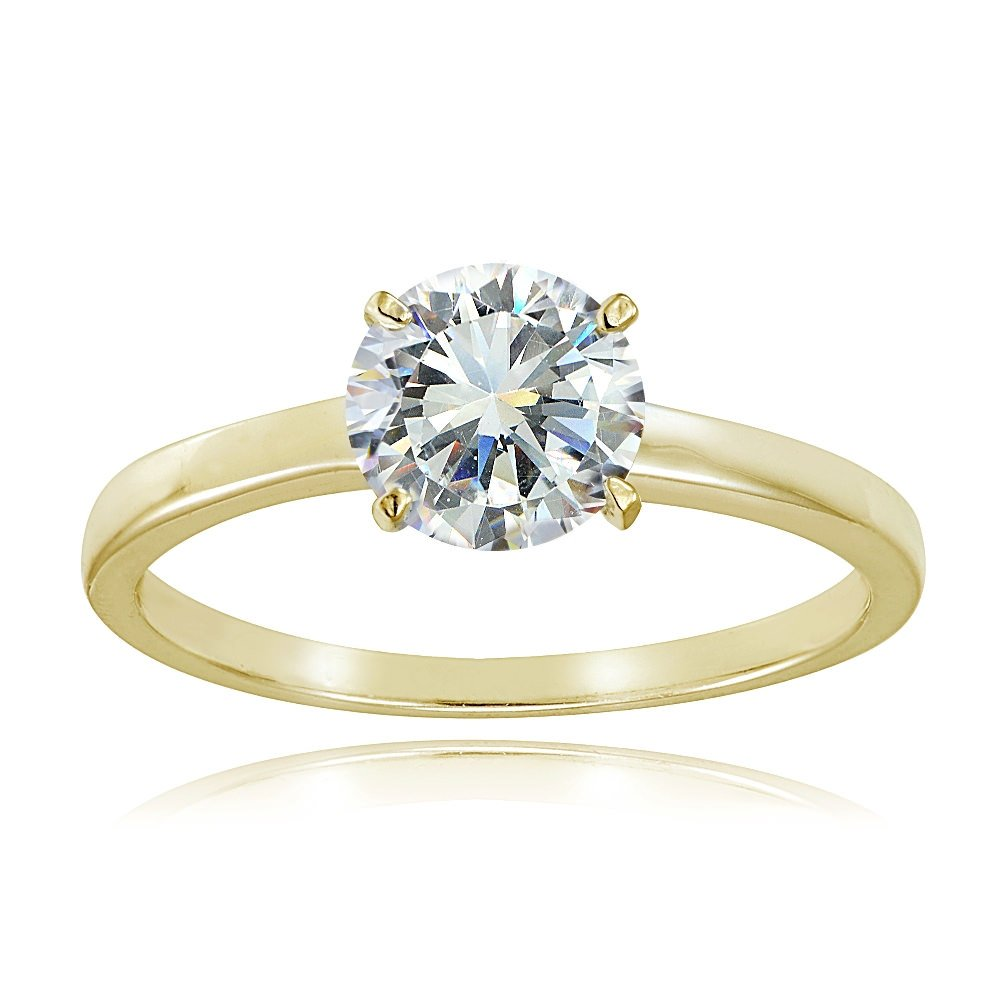 Yellow Gold Flash Sterling Silver 1ct Cubic Zirconia 6.5mm Round Solitaire Ring,size 7