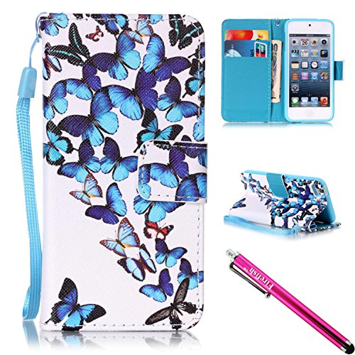 (iPod Touch 6 / Touch 5 Case, Firefish [Kickstand] [Shock Proof] Double Protective Case Flip Folio Slim Magnetic Cover with Wrist Strap for Apple iPod Touch 5/6-Butterflies)