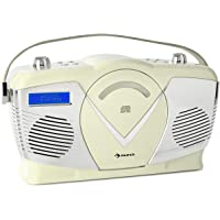 auna RCD-70 Retro DAB CD-Radio Nostalgie Radio (UKW/DAB+ Radio, MP3-fähiger USB-Port, Bluetooth, frontlader CD- / MP3-Player, AUX-IN, Kopfhörerausgang, Batteriebetrieb möglich, Tragegriff) Creme