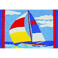 Perfect Sail Sailboat on Water Washable 21 X 33 Area Accent Jellybean Rug
