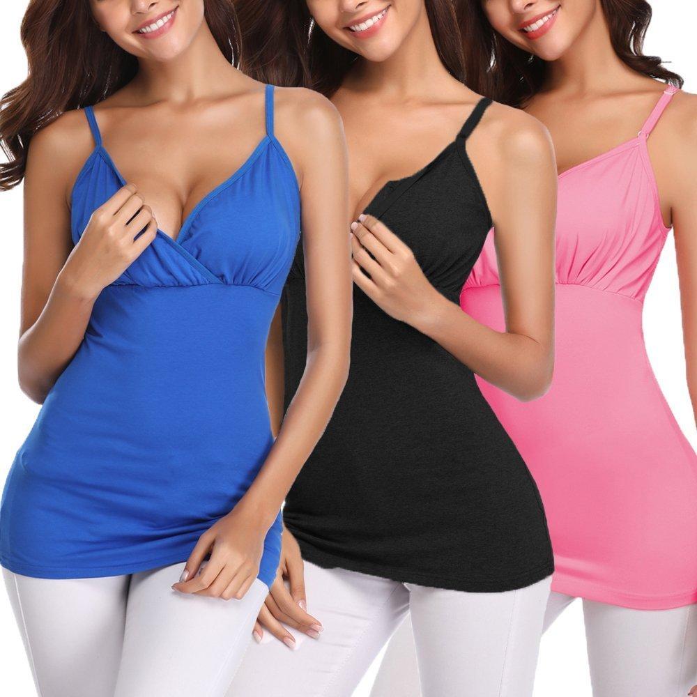 Derssity Womens Nursing Bra Nursing Tank Tops for Breastfeeding (Black+Pink+Royal Blue,S) by Derssity (Image #1)
