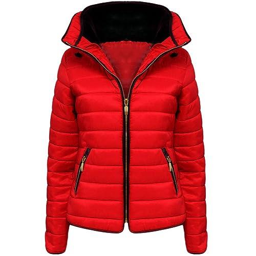 Vanilla Inc - chaqueta de invierno acolchada para mujer, con cremallera, con capucha, cuello forrado