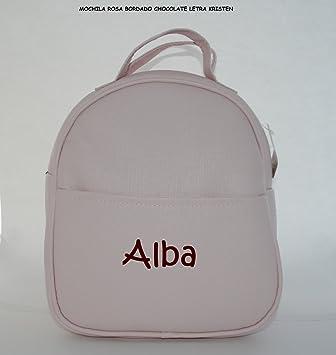 Mochila guardería en polipiel rosa, personalizada con nombre. / 29x24x11 cm./: Amazon.es: Bebé