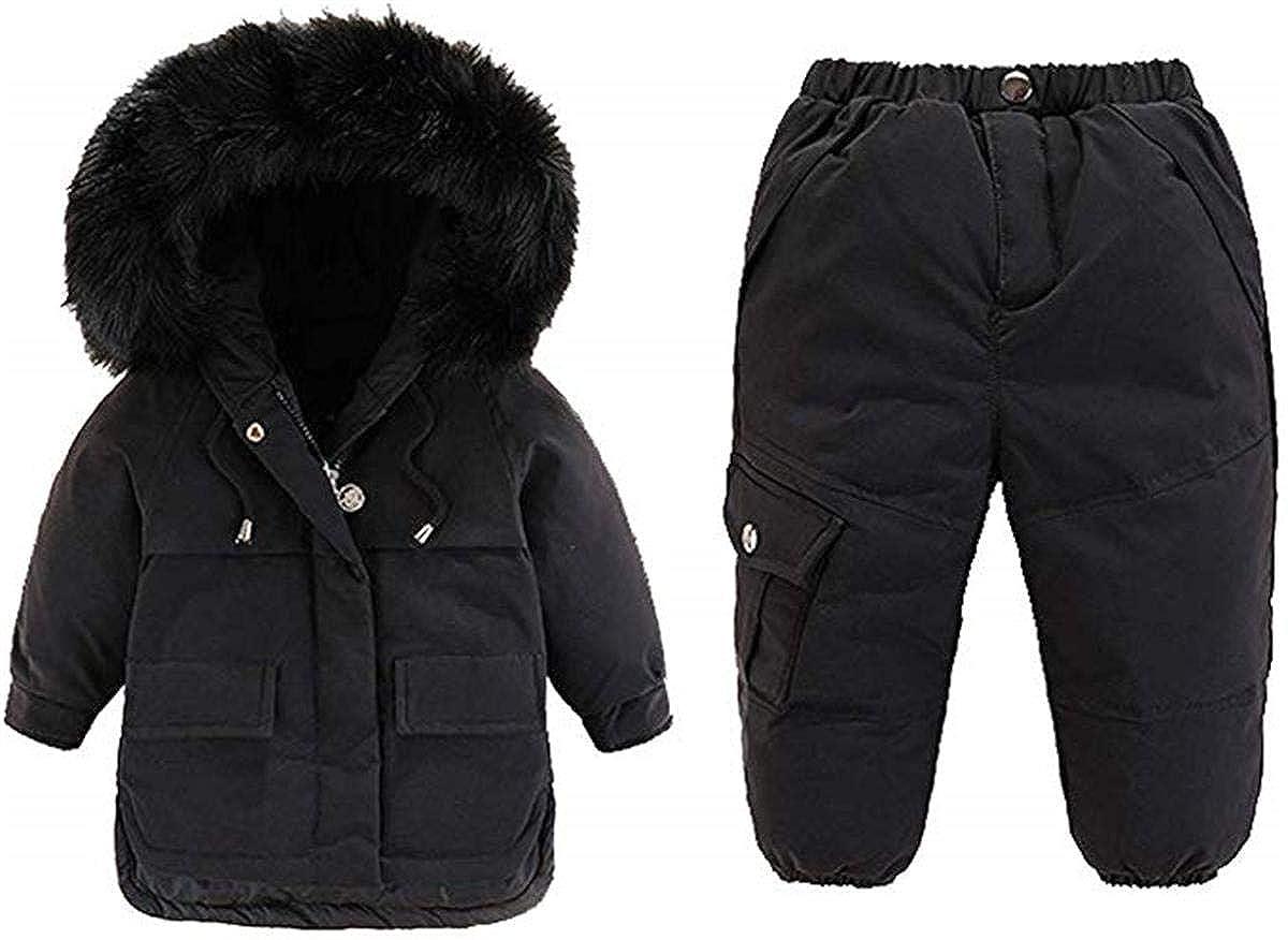 Snow Pants 2-Piece Set Lemohome Baby Kid Boy Girl Winter Waterproof Hooded Fur Down Parka Puffer Coat