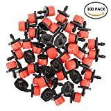 vegetable garden watering system - Cherry Juilt 100pcs Adjustable Irrigation Drippers Sprinklers Emitter Drip Watering System for Flower Beds Vegetable Gardens Lawn Herbs Gardens 1/4""