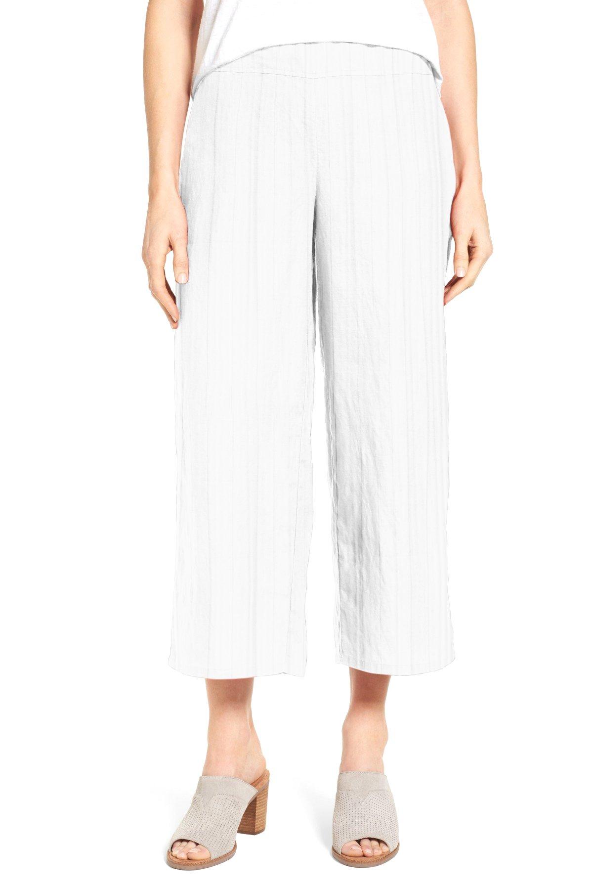 WuhouPro Women's Elastic Waist Wide Leg Pleated Crop Pants AZ 1400 White M
