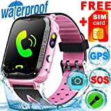 [SIM CARD Included] IP68 Waterproof Kid Smart Watch Phone GPS Tracker for Girl Boy Fitness Tracker SOS Camera Anti-lost Game Sport Watch Swim Summer Outdoor Prime Deals Live Mobile App for IOS/Android