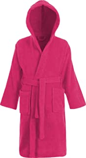 b444ba6181 Kids 100% Cotton Bathrobe Hooded Pink Terry Towelling Shawl Collar Bath Robe  Ages 2…