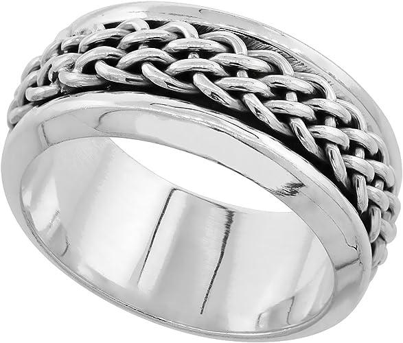 9mm Sterling Silver Hammered Men/'s Ring
