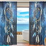 SEULIFE Window Sheer Curtain, Tribal Dreamcatcher Animal Eagle Art Voile Curtain Drapes for Door Kitchen Living Room Bedroom 55x78 inches 2 Panels