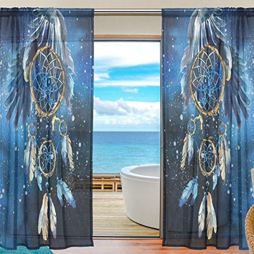 SEULIFE Window Sheer Curtain, Tribal Dreamcatcher Animal Eagle Art Voile Curtain Drapes for Door Kitchen Living Room Bedroom 55x78 inches 2 Panels by SEULIFE