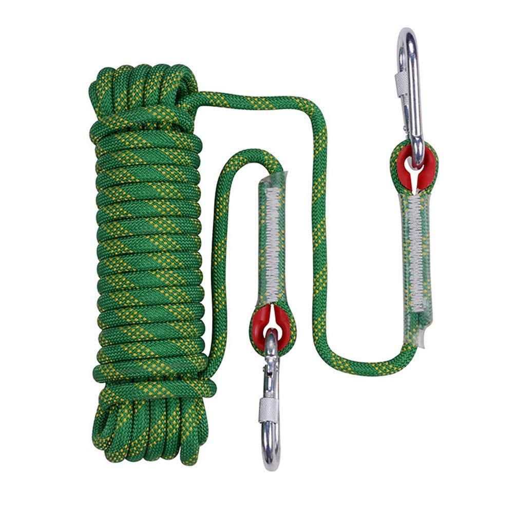 安全クライミングロープ、12ミリメートル静的ライフラインロープアウトドア緊急脱出ロープ多機能洗濯物用ハイキングケイビングキャンプエンジニアリングレスキュー用品、グリーン,80m 80m  B07SZTBGBF