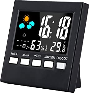 Weather Station, Indoor Thermometer Humidity Monitor with Alarm Clock & Snooze, Calendar, Battery Operated, Voice Control Backlight for Home, Office, Greenhouse (Color Display)