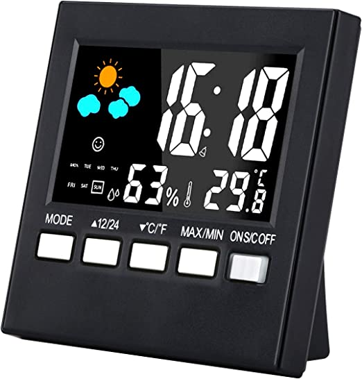 LCD Digital LED Thermometer humidity Weather Station Calendar Snooze Alarm Clock
