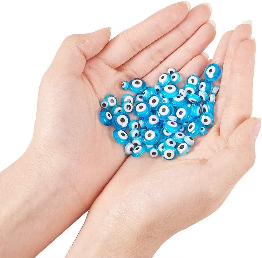 nbeads 30 Pcs Fatima Main Perle Hamsa Mauvais Oeil Perle Fatima Symbole Charmes pour la Fabrication de Bijoux Conclusions DIY Collier