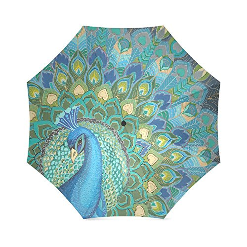 Thanksgiving/New Year Gift Beautiful Peacock Feather Peacock Foldable Sun/Rain Umbrella Sunshade Parasol