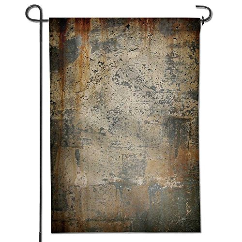 AmaPark Somewhere Decorative Garden Flags,a Grungy Concrete Wall Marks Rust Stains a Vignette Weather Resistant & Double Stitched 12
