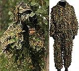 isafish Ghillie Suits Caza Camuflaje de hoja de arce con capucha 3d Bionic Entrenamiento Uniforme Militar Sniper Cloak ropa de camuflaje caza airsoft fotografía de vida silvestre o Halloween