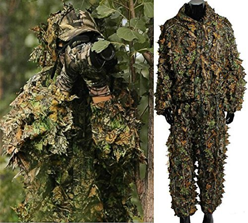 Isafish Ghillie Suits Hunting Camouflage Maple Leaf Hooded 3D Bionic Training Uniform Military Sniper Cloak Camouflage Clothing Hunting Shooting Airsoft Wildlife Photography or Halloween