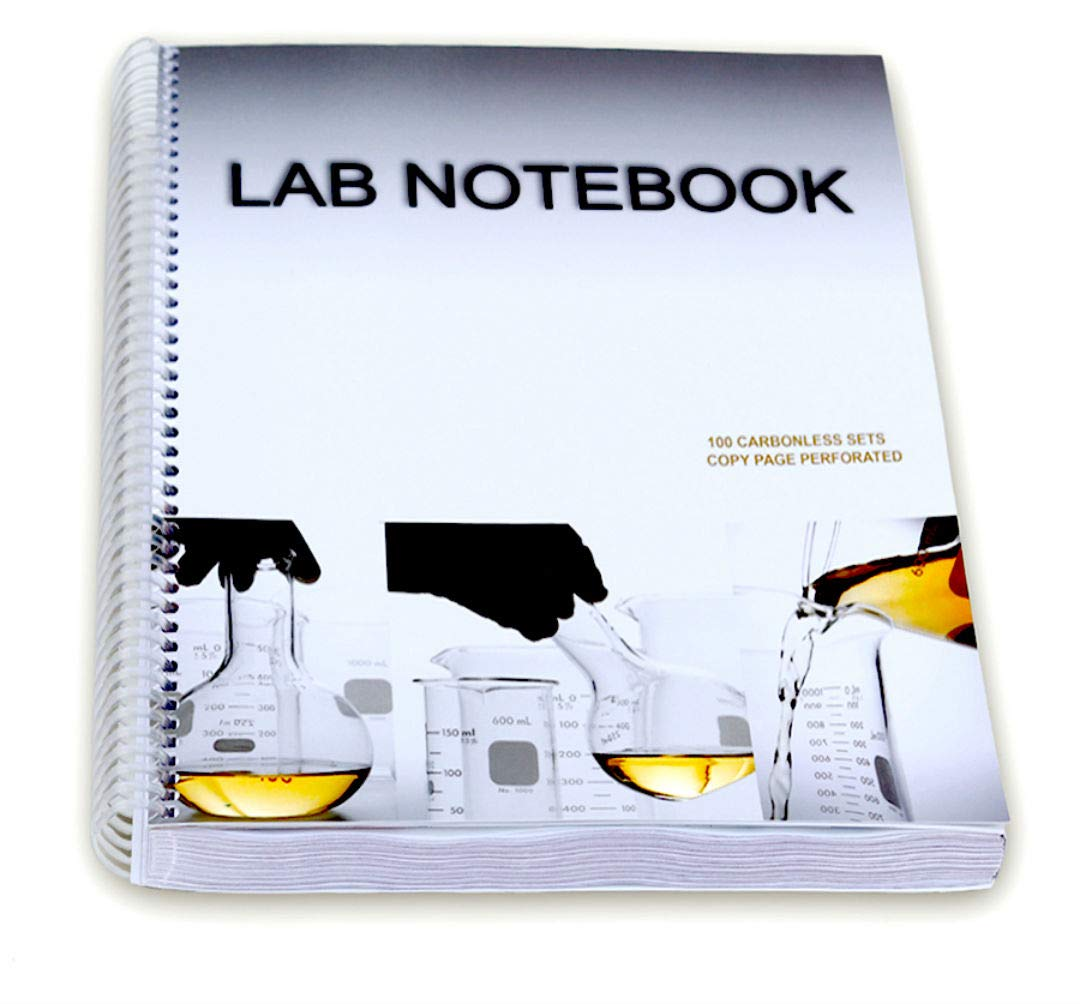 Lab Notebook 100 Carbonless Pages Spiral Bound (Copy Page Perforated) by BARBAKAM