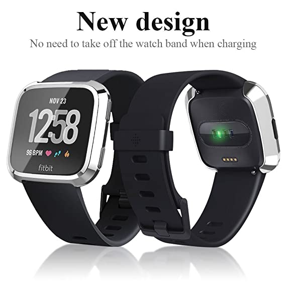 Fitbit Versa Smart Watch Case, Plated TPU Scratch-Resistant Flexible Case Slim Lightweight Protective Bumper Cover for Fitbit Versa Smart Watch ...