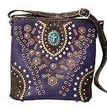 HW Collection Western Purse Cross Concho Leaves Vine Concealed Carry Crossbody Handbag Messenger Bag (Purple)