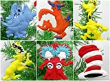 """Dr. Seuss 6 Piece Christmas Tree Ornament Set Featuring Iconic Seuss Characters - Around 2"""" to 3"""" Tall"""