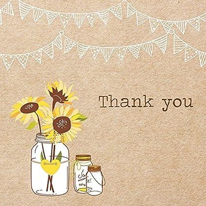 Tarjeta de agradecimiento - rústicas - girasoles Lote de 20 ...