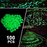 Boomile 100 Pcs Glow in the Dark Garden Pebbles for Walkways and Decor in Green