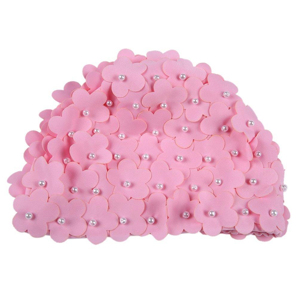 Doubleer Femmes Natation Chapeau Artificielle Perle Feur P/étales Bonnet de Bain Casquette