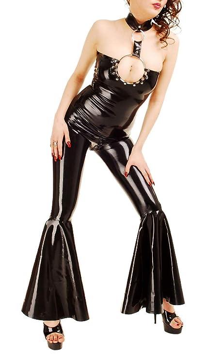 Anita Berg - Látex Collar de traje pantalón de Zip Negro ...