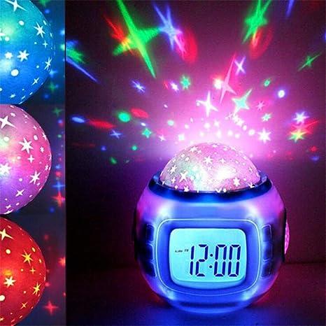 Projection Clocks Sky Star Children Baby Room Night Light Projector Lamp Bedroom Music Alarm Clock Color