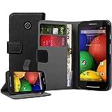 Membrane - Negro Cartera Funda Carcasa para Motorola Moto E (XT1021, XT1022, XT1025 Moto E Dual Sim) - Wallet Flip Case Cover