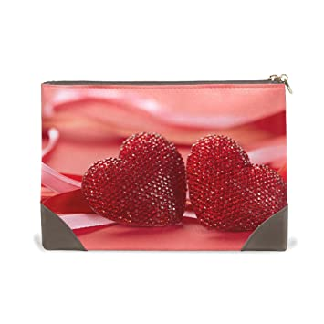 Amazon.com   MMstyle Red Valentine Love Heart Romantic Leather Large  Capacity Toiletry Cosmetic Bag for Women Girls   Beauty 7598b743bfdce
