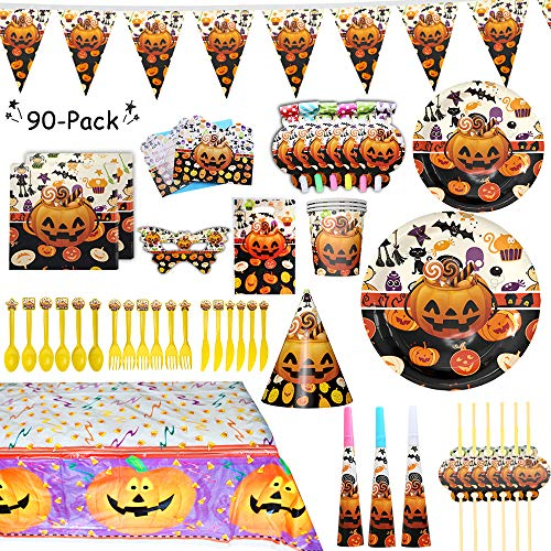 Halloween Party Supplies Set, 90 Pieces for 6 Guest, Plates,Cups,Napkins,Tableware, Bunting Banner,Table Cover, Birthday Hats, Paper Halloween Party Props Birthday Supplies Decoration Favors for Kids